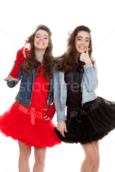 Divat tinédzserek buli pozitív remek győzelem Stock fotó © godfer