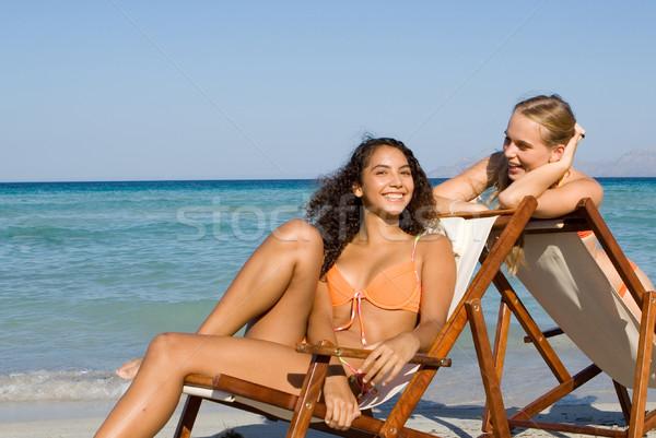 Stockfoto: Jonge · vrouwen · ontspannen · zomervakantie · voorjaar · glimlach · gelukkig