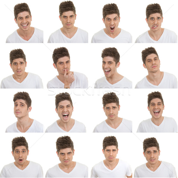 set of male facial expressions Stock photo © godfer