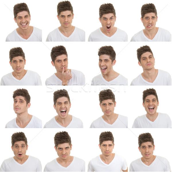Homme expressions faciales différent heureux amusement Photo stock © godfer