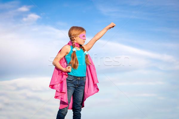 Szuperhős lány erő szuperhős gyerekek boldog Stock fotó © godfer