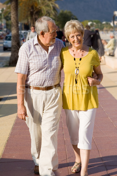 active seniors walking on vacation in mallorca Stock photo © godfer