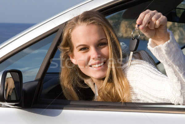 woman showing key to new or hire rental car Stock photo © godfer