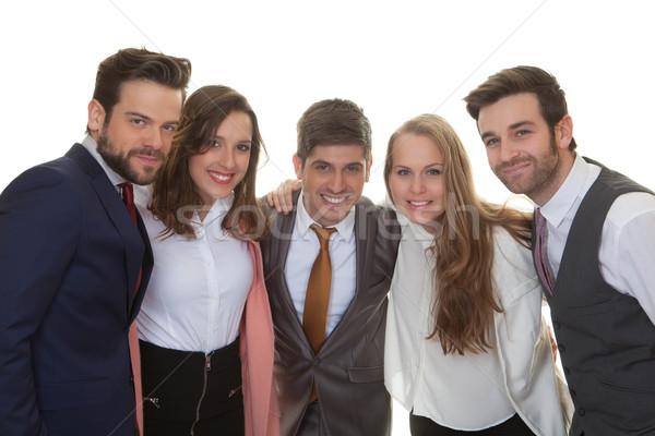 Grupo inteligente feliz pessoas de negócios jovem equipe de negócios Foto stock © godfer