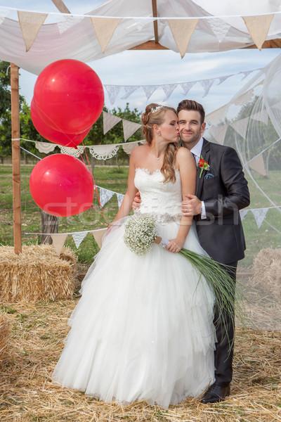 ブライダル カップル 新しく 結婚式 キス 幸せ ストックフォト © godfer