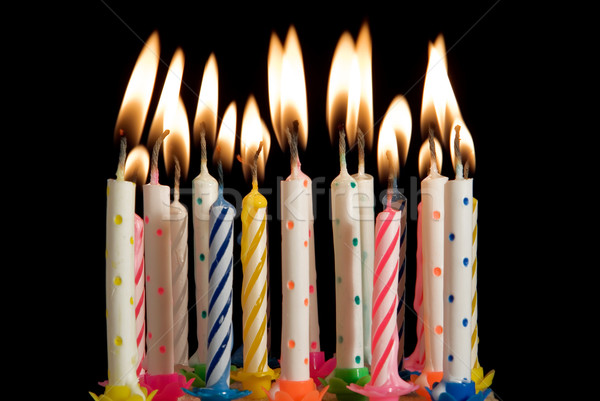 Verjaardag viering kaarsen Stockfoto © godfer