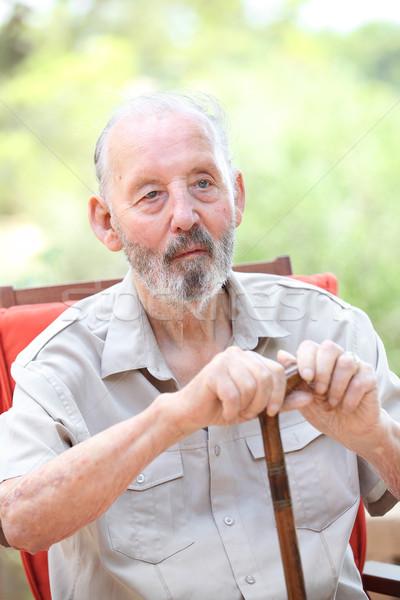 Senior homem caminhada vara idoso pessoa Foto stock © godfer