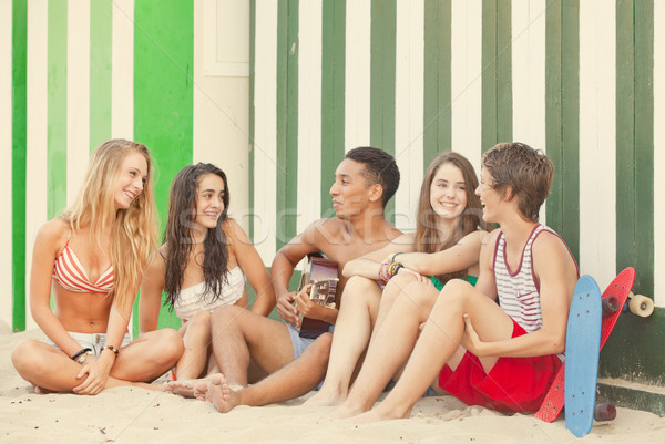Stock foto: Strand · Party · teens · Gitarre · Frauen · Kinder