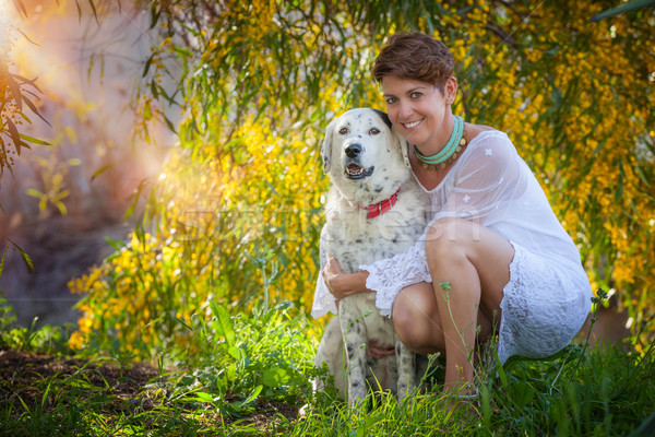 family pet dog outdoors with female owner Stock photo © godfer