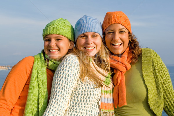 happy group of girls with perfect straight, white, teeth, Stock photo © godfer