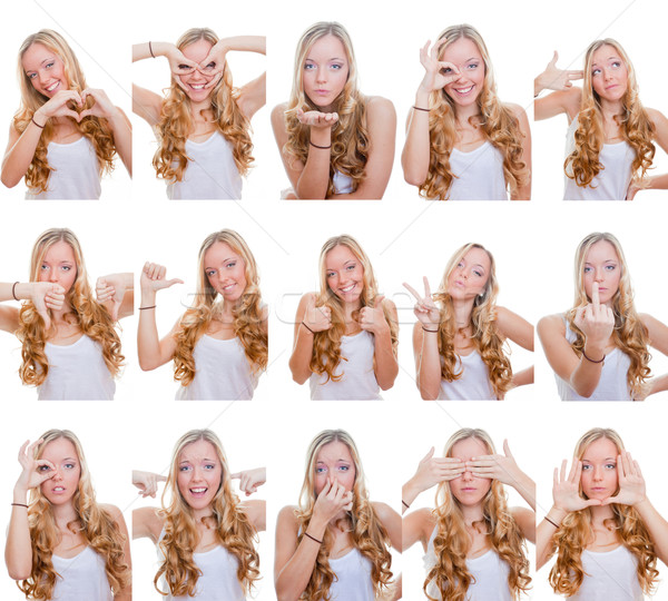 Diferente expressões faciais mulher gestos sinais cara Foto stock © godfer