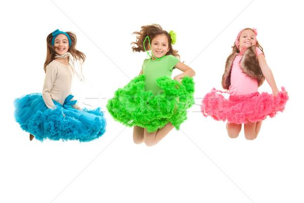 Foto stock: Moda · crianças · saltando · feliz · sorridente · festa