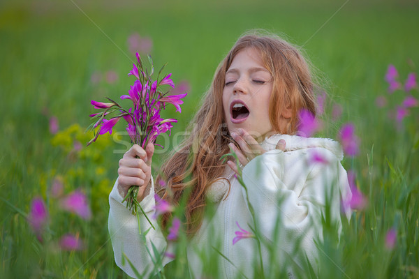 child sneezing allergic to flower pollen Stock photo © godfer