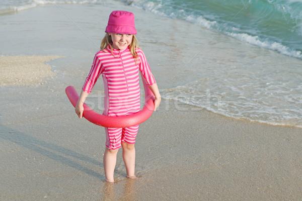 Fiatal gyermek tengerpart vakáció nap elleni védelem öltöny Stock fotó © godfer