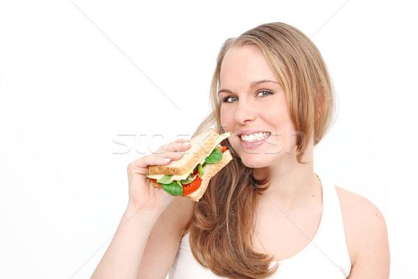 Zdrowa dieta kobieta jedzenie Sałatka kanapkę Zdjęcia stock © godfer