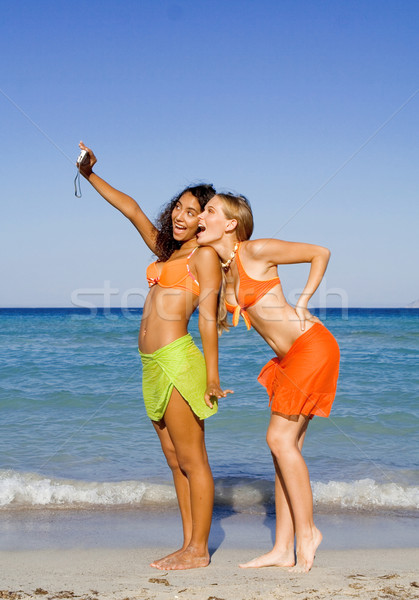 teens having fun with camera on summer holiday Stock photo © godfer