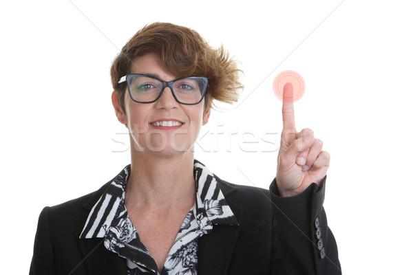 üzletasszony kisajtolás piros gomb üzlet technológia Stock fotó © godfer