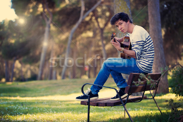 musician playing guitar Stock photo © godfer