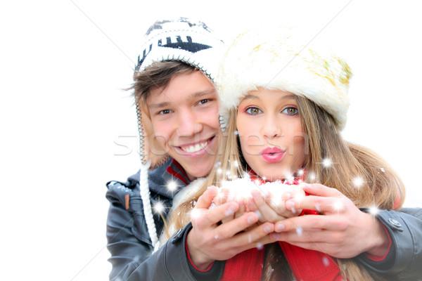 Fantázia boldog tél pár fúj karácsony Stock fotó © godfer