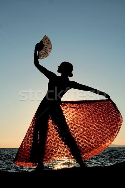 İspanya İspanyolca dansçı plaj deniz dans Stok fotoğraf © godfer