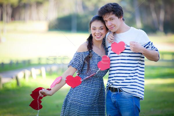 Paar glücklich liebevoll Valentinsdag Herzen Stock foto © godfer