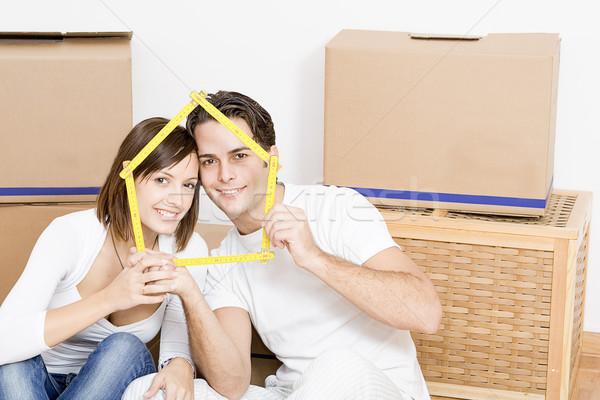 Mozog otthon új első nő Stock fotó © godfer