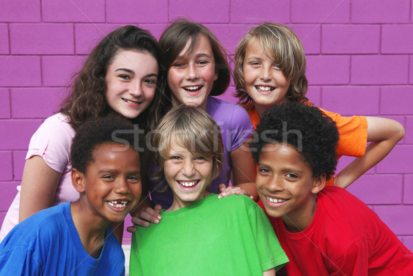diverse mixed race group of kids Stock photo © godfer