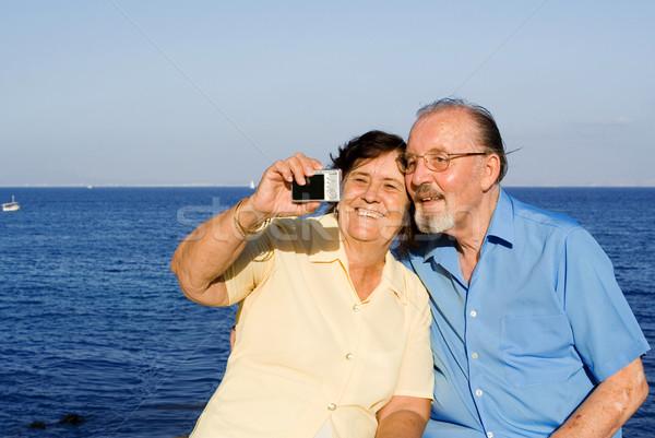 Stock fotó: Boldog · idős · pár · nyári · vakáció · nyár · jókedv · mosolyog