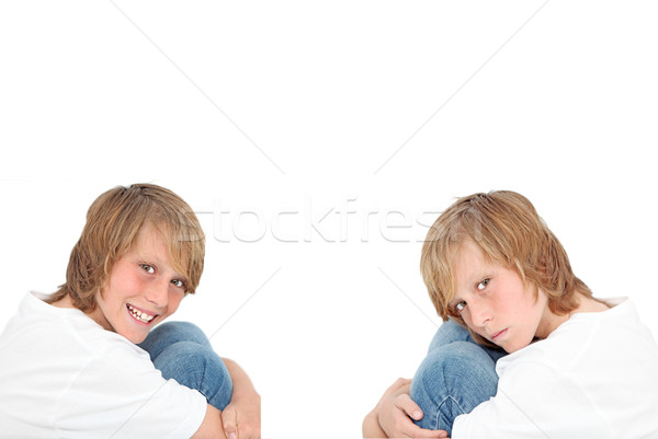 happy sad, twins with different personalities Stock photo © godfer