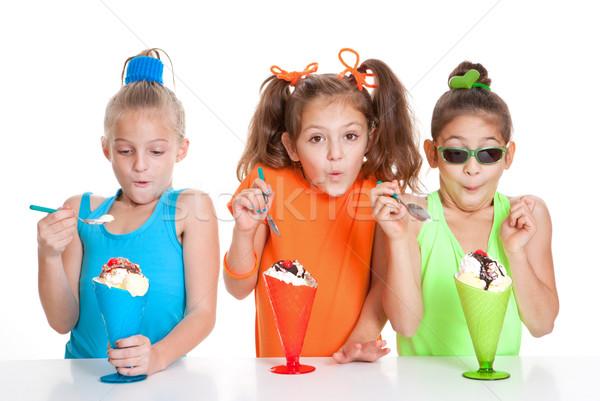 children eating icecream sundae treats Stock photo © godfer
