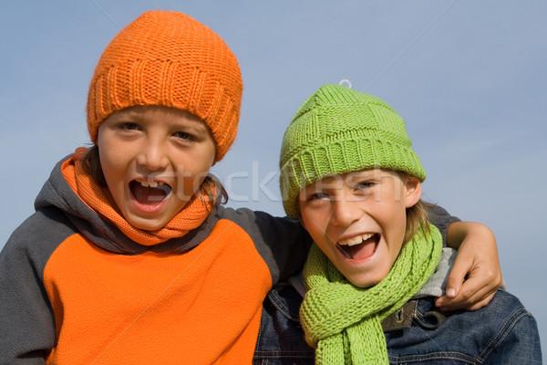 Boldog egészséges gyerekek pár jókedv fiúk Stock fotó © godfer