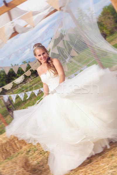 幸せ 花嫁 ウェディングドレス 白 女性 少女 ストックフォト © godfer