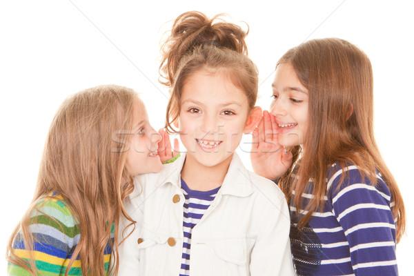 Barátok suttog titkok boldog gyermek gyerekek Stock fotó © godfer