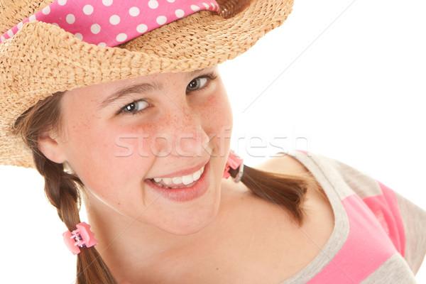 Sonriendo verano nina pecas feliz Foto stock © godfer