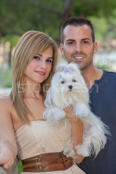 people with pet Maltese dog Stock photo © godfer