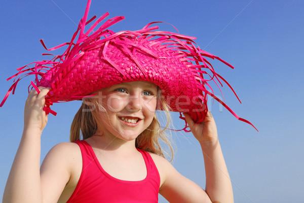 Mutlu yaz çocuk plaj kız çocuk Stok fotoğraf © godfer