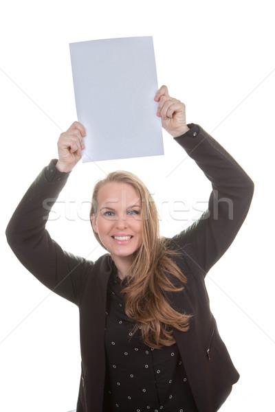 Stock fotó: Boldog · nő · tart · üres · papír · fehér · papír