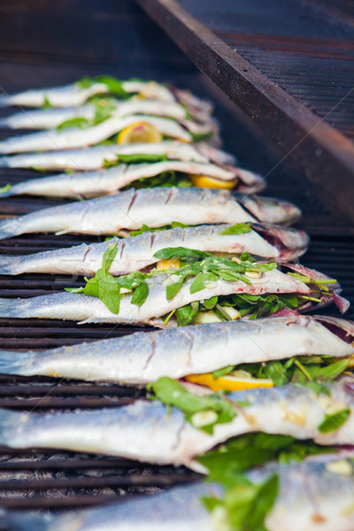 Bourré poissons griller bbq mer basse Photo stock © godfer
