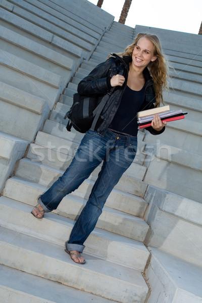 Boldog diák főiskola kampusz könyvek hátizsák Stock fotó © godfer