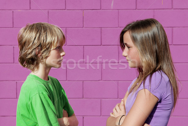 sibling rivalry, brother and sister argueing Stock photo © godfer
