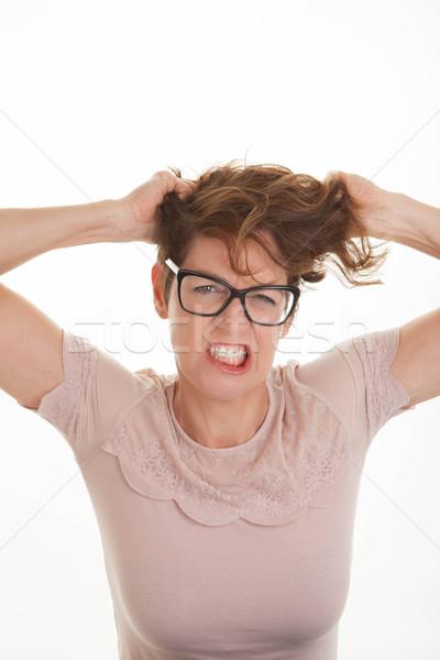 Frustré femme mains tête colère femmes Photo stock © godfer