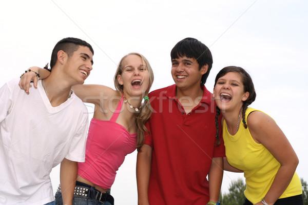 Stock fotó: Boldog · csoport · tinédzserek · diákok · jókedv · tini