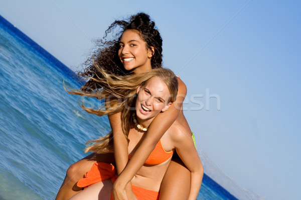 Stock fotó: Háton · lányok · tengerpart · nyári · vakáció · ünnep · tavaszi · szünet
