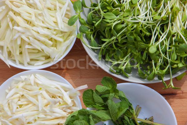 オーガニック 生態学的な 完全菜食主義者の 食品 材料 野菜 ストックフォト © godfer