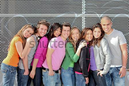 diverse group of students or teens Stock photo © godfer