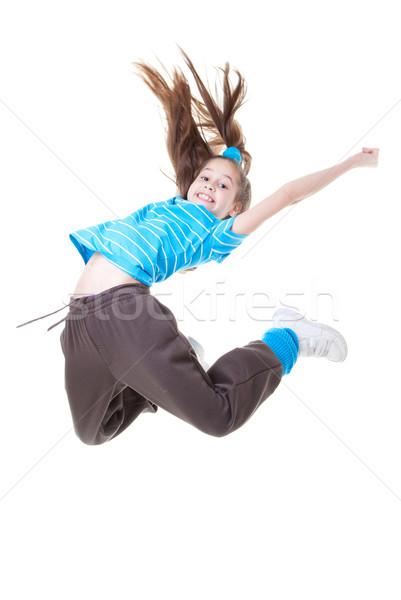 çocuk çocuk atlama dans çocuklar mutlu Stok fotoğraf © godfer