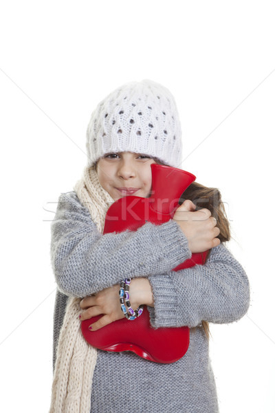 winter kid with hot water bottle Stock photo © godfer