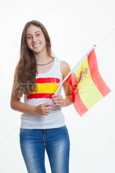 Patriótico espanhol adolescente bandeira jovem Foto stock © godfer