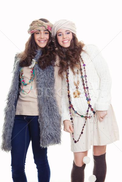 Tinédzserek divat kellékek boldog mosolyog visel Stock fotó © godfer