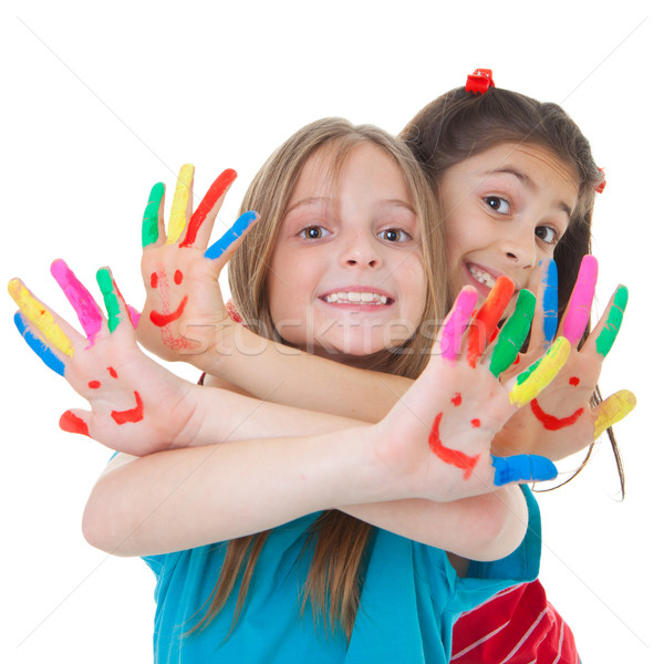 children playing with paint Stock photo © godfer